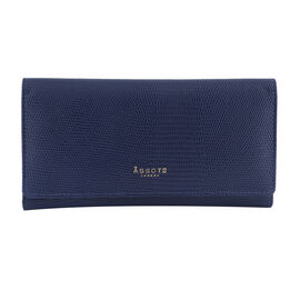Assots London CLAIRE - 100% Genuine Leather Wallet (20x1.5x10cm) - Navy