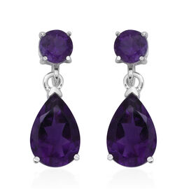 7.97 Ct Amethyst Drop Earrings in Rhodium Plated Sterling Silver with Push Back