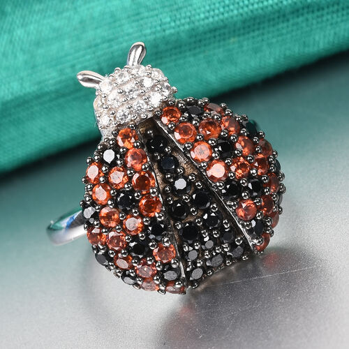 GP Boi Ploi Black Spinel, Mozambique Garnet, Natural Cambodian Zircon and Blue Sapphire Ladybird Ring in Platinum Overlay STerling Silver 2.00 Ct.