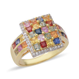 4.50 Ct AAA Rainbow Sapphire Princess Cut and Zircon Cluster Ring in Gold Plated Silver 6 Grams