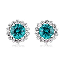 ELANZA Simulated Tourmaline and Simulated Diamond Stud Earrings in Rhodium Plated Silver