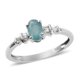 0.50 Ct AA Rare Grandidierite and Diamond I3 GH Ballerina Ring in 9K White Gold