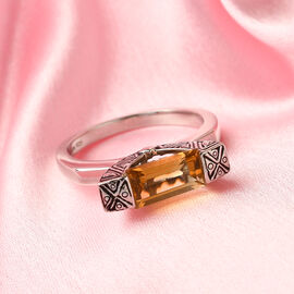 Sajen Silver Citrine Enamelled Ring in Rhodium Overlay Sterling Silver 1.50 Ct.