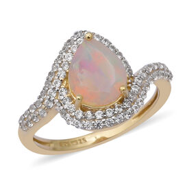 2.42 Ct Ethiopian Welo Opal and Cambodian Zircon Swirl Halo Ring in Gold Plated Sterling Silver