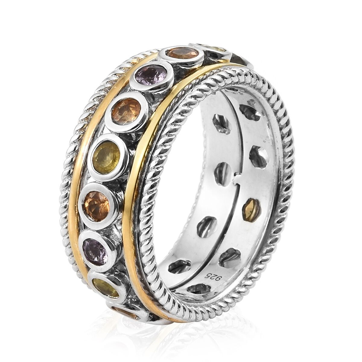 Rainbow Sapphire SPINNER Ring in Yellow Gold, Platinum Over Silver 2.5 Ct