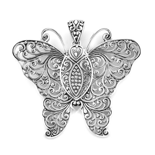 Bali Legacy Collection Sterling Silver Filigree Butterfly Pendant, Silver wt 12.20 Gms.