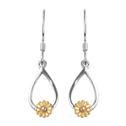 Platinum and Yellow Gold Overlay Sterling Silver Floral Dangle Earrings