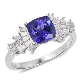 Iliana AAA Tanzanite (1.90 Ct) and Diamond 18K W Gold Ring  2.270  Ct.
