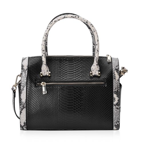 100% Genuine Leather Black Colour Snake Skin Pattern Tote Bag with External Zipper Pocket and Removable Shoulder Strap (Size 30x26x10 Cm)