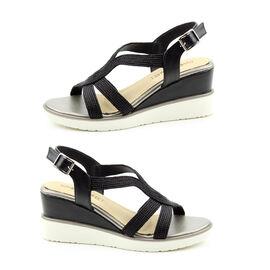 Heavenly Feet Marin High Wedge Sandals in Black (Size 3)