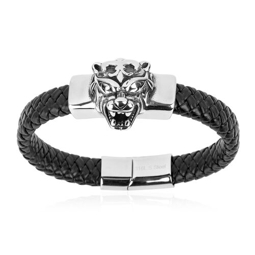 Stainless Steel and Genuine Leather Fancy Dragon Head Bracelet (Size 8.5)