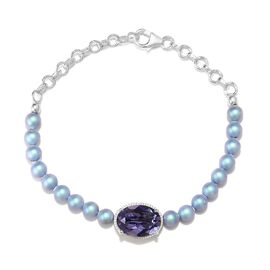 J Francis - Crystal from Swarovski Tanzanite Colour Crystal and Iridescent Light Blue Pearl Crystal