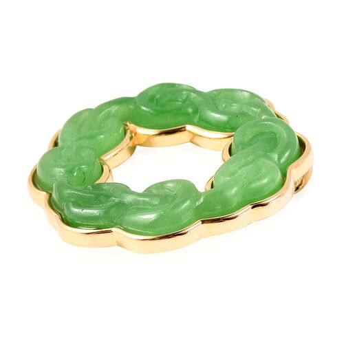 Green Jade Infinity Braid Pendant in Yellow Gold Overlay Sterling Silver 20.0 Ct, Silver wt. 5.01 Gms