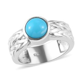 Arizona Sleeping Beauty Turquoise (Rnd) Solitaire Ring in Platinum Overlay Sterling Silver 1.15 Ct,