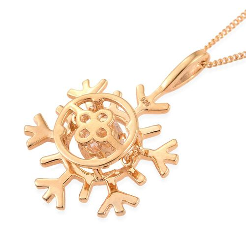 J Francis - 14K Gold Overlay Sterling Silver (Rnd) Snowflake Pendant with Chain Made with SWAROVSKI ZIRCONIA