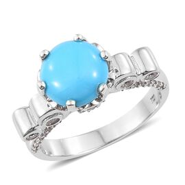 Arizona Sleeping Beauty Turquoise (Rnd 3.50 Ct), Natural Cambodian Zircon Ring in Platinum Overlay S