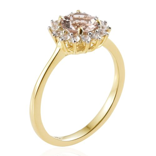 Moroppino Morganite (0.75 Ct),Cambodian Zircon 9K Y Gold Ring  1.000  Ct.