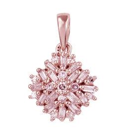 9K Rose Gold Natural Pink Diamond (Bgt and Rnd) Cluster Pendant 0.250 Ct.
