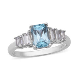 Ratanakiri Blue Zircon and Cambodian Zircon Ring in Rhodium Overlay Sterling Silver 2.89 Ct.
