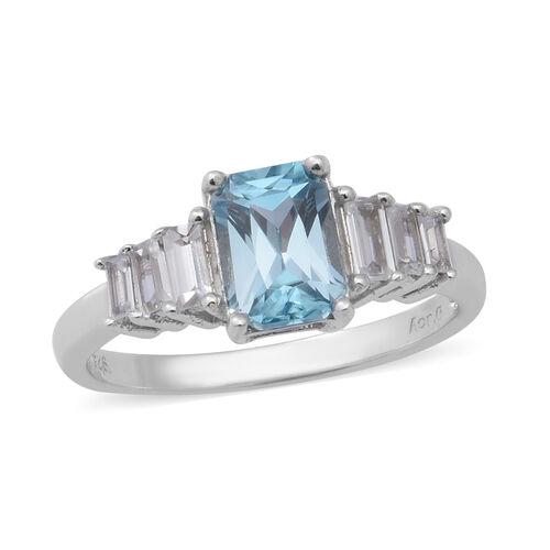 Ratanakiri Blue Zircon and Cambodian Zircon Ring in Rhodium Overlay Sterling Silver 2.89 Ct.