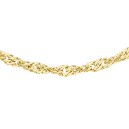 9K Yellow Gold Twisted Curb Chain (Size 18), Gold wt 1.80 Gms