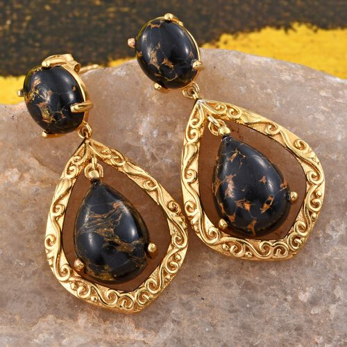 Arizona Mojave Black Turquoise (Pear) Earrings (with Push Back) in 14K Gold Overlay Sterling Silver 16.000 Ct. Silver wt 6.03 Gms.