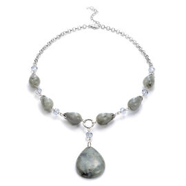 Labradorite and Simulated Grey Topaz Necklace (Size - 18 + 2 inch Extender) in Silver Tone