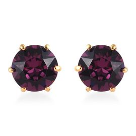 J Francis - Crystal from Swarovski Amethyst Crystal (Rnd) Stud Earrings (with Push Back) in 14K Gold