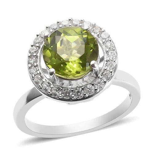 2.12 Ct Hebei Peridot and Zircon Halo Ring in Platinum Plated Sterling Silver