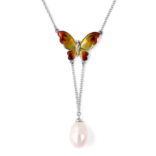 GP - Freshwater Pearl and Blue Sapphire Enamelled Butterfly Lariat Necklace (Size 20) in Rhodium Ove