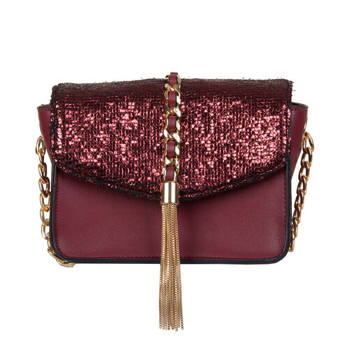 Bulaggi Collection - Calla Crossbody Bag with Metallic Pattern Flap and Adjustable Shoulder Strap (1