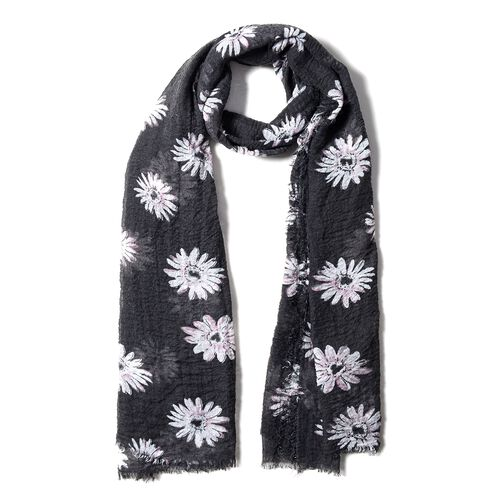Black Colour Scarf with Chrysanthemum White Flower Pattern ( Size 180x90 Cm)