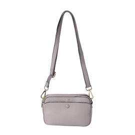 Sencillez 100% Genuine Leather Crossbody Bag with Adjustable Shoulder Strap in Light Grey