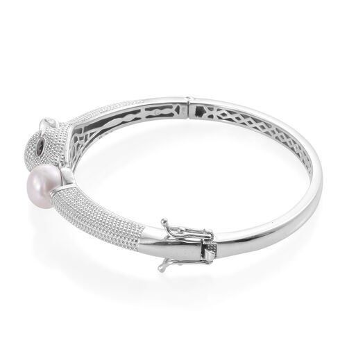 Designer Inspired-Freshwater Pearl and Boi Ploi Black Spinel Panther Bangle (Size 7.5) in Silver Plated