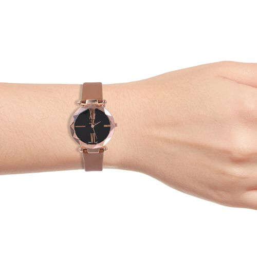 Designer Inspired STRADA Japanese Movement Water Resistant Watch in Rose Gold Tone with Brown Colour Strap.