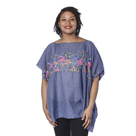 Super Soft Blue Kaftan Top with Multi Colour Embroidery (UK Size - up to 20)