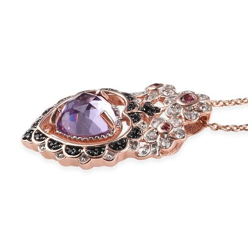 GP Rose De France Amethyst (Hrt), Multi Gemstone Pendant with Chain (Size 18) in Rose Gold Overlay Sterling Silver 4.00 Ct, Silver wt 7.03 Gms