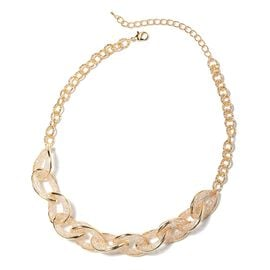 White Austrian Crystal (Rnd) Necklace (Size 18 with 3 inch Extender) in Gold Tone