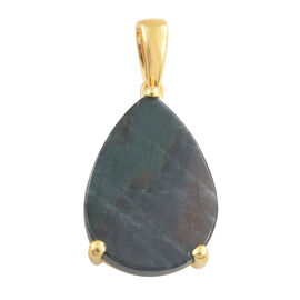 Spectrolite (Pear) Solitaire Pendant in 14K Gold Overlay Sterling Silver 5.000 Ct.