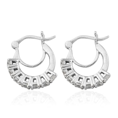 Natural Cambodian Zircon Hoop Earrings (with Clasp) in Platinum Plated Silver 2.25 Ct