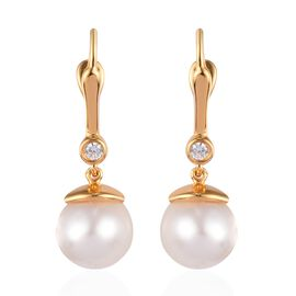 Royal Bali Collection - South Sea White Pearl and Natural Cambodian Zircon Drop Earrings (with Clasp
