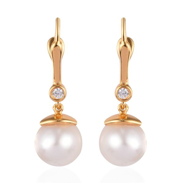 South Sea White Pearl and Natural Cambodian Zircon Drop Earrings (with Clasp) in 14K Gold Overlay St
