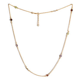New York Special Close Out Deal - Amethyst (Rnd), Hebei Peridot and Indian Garnet Necklace (Size 18 with 1 inch Extender) in Yellow Gold Overlay Sterling Silver 2.600 Ct
