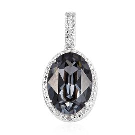 J Francis Swarovski Silver Night Crystal and Diamond Solitaire Pendant in Platinum Plated