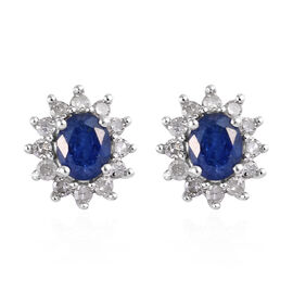 Natural Burmese Blue Sapphire (Ovl), Diamond Earrings in Platinum Overlay Sterling Silver 1.00  Ct.