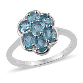 One Time Deal-Paraibe Apatite (Ovl) Floral Ring in Sterling Silver 1.250 Ct.
