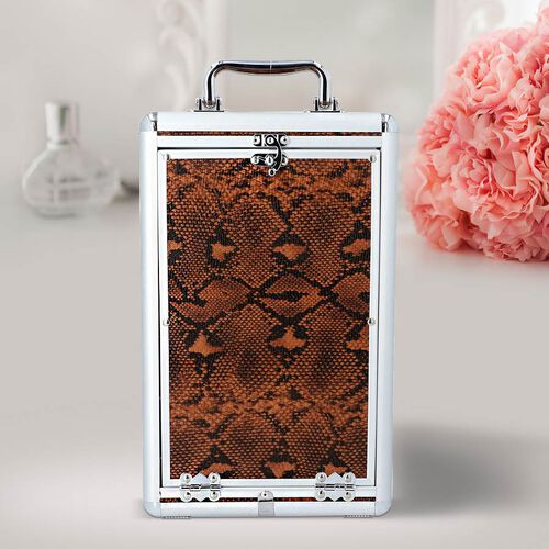 New Arrival- Five Tier Anti-Tarnish Snake Skin Pattern Jewellery Box with Lock and Handle - Chocolate