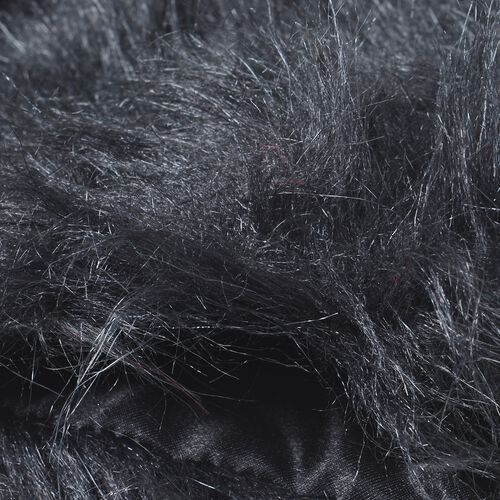 Black Colour Faux Fur Scarf (Size 96x14.5 Cm) and Wrist Cuffs (Size 16.5x14.5 Cm)