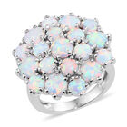 One Time Deal- Designer Inspired Simulated Coober Pedy Opal (Rnd) Cluster Ring (Size M) in Silver Plated