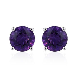 Amethyst (Rnd) Stud Earrings (with Push Back) in Platinum Overlay Sterling Silver 2.250 Ct.